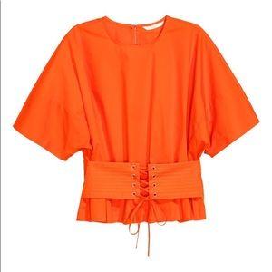 H&M orange corset t shirt